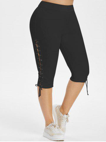 High Waisted Lace Up Side Plus Size Capri Pants - BLACK - 1X