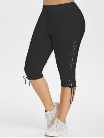 High Waisted Lace Up Side Plus Size Capri Pants