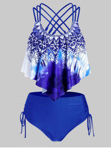 Plus Size Printed Strappy Drawstring Tankini Swimwear - DEEP BLUE - 5X