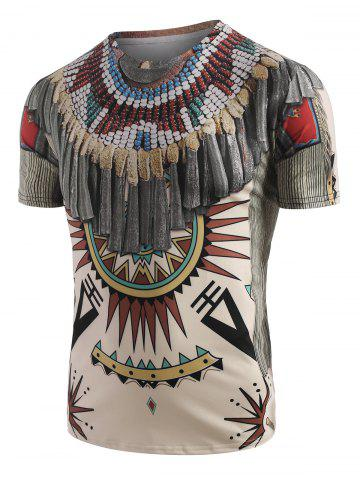 Tribal Indian Graphic 3D Print T-shirt - WARM WHITE - S