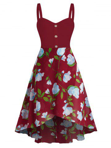 Sleeveless Flower Print Mock Button High Low Dress - RED WINE - 2XL