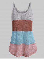 Knitted Colorblock Stripes Plus Size Tank Top -