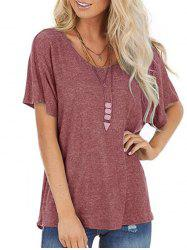 Cutout Back Twisted Batwing Sleeve T-shirt -