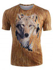 Wolf 3D Print Short Sleeve T-shirt -