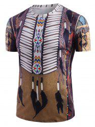 Tribal Indian Graphic Print Round Neck T-shirt -