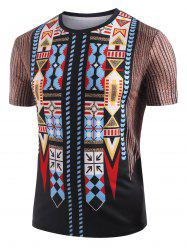 Aztec Graphic Print Round Neck T-shirt -