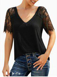 Lace Panel V Neck Short Sleeve T-shirt -