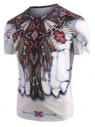 Tribal Indian Graphic Pattern Short Sleeve T Shirt -