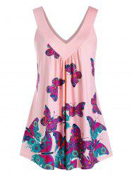Plus Size Butterfly Double V Neck Tunic Tank Top -