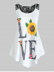 Plus Size Lace Insert Love Sunflower Print Tank Top -