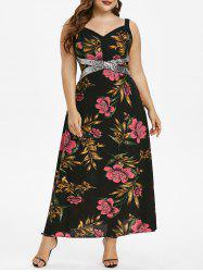 Plus Size Flower Glitter Sequined A Line Dress -