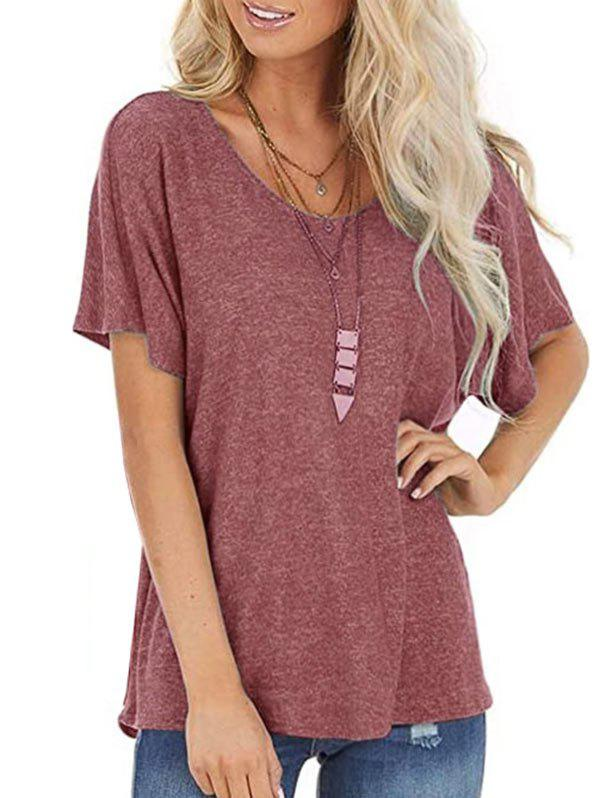Hot Cutout Back Twisted Batwing Sleeve T-shirt