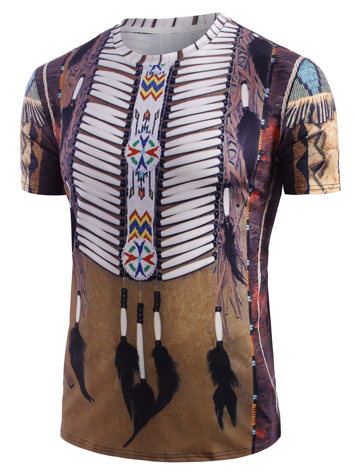 New Tribal Indian Graphic Print Round Neck T-shirt