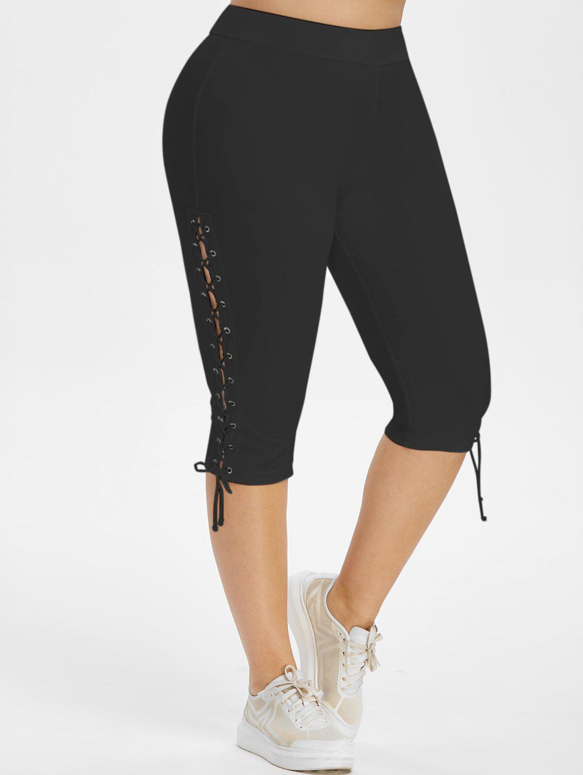 Chic High Waisted Lace Up Side Plus Size Capri Pants