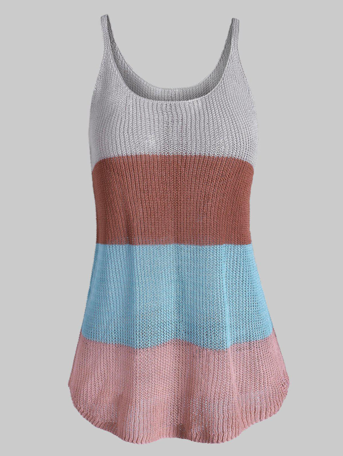 Store Knitted Colorblock Stripes Plus Size Tank Top