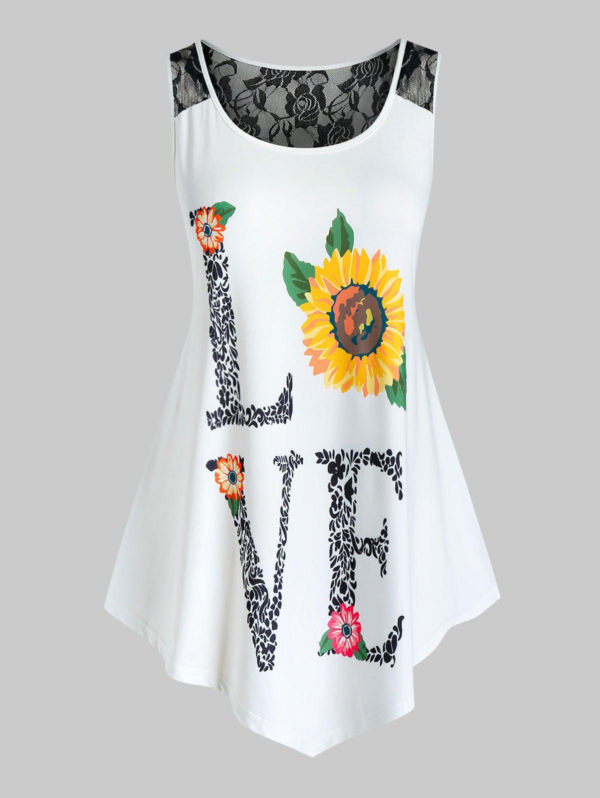 Latest Plus Size Lace Insert Love Sunflower Print Tank Top