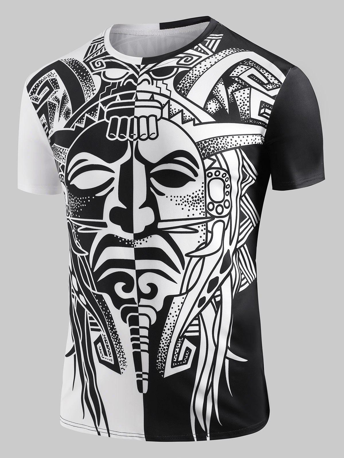Sale Ying and Yang Aztec Totem Graphic T-shirt