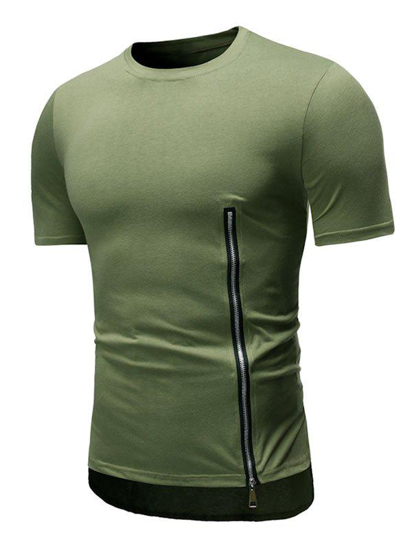 Affordable Side Zip High Low Crew Neck Short Sleeve Tee