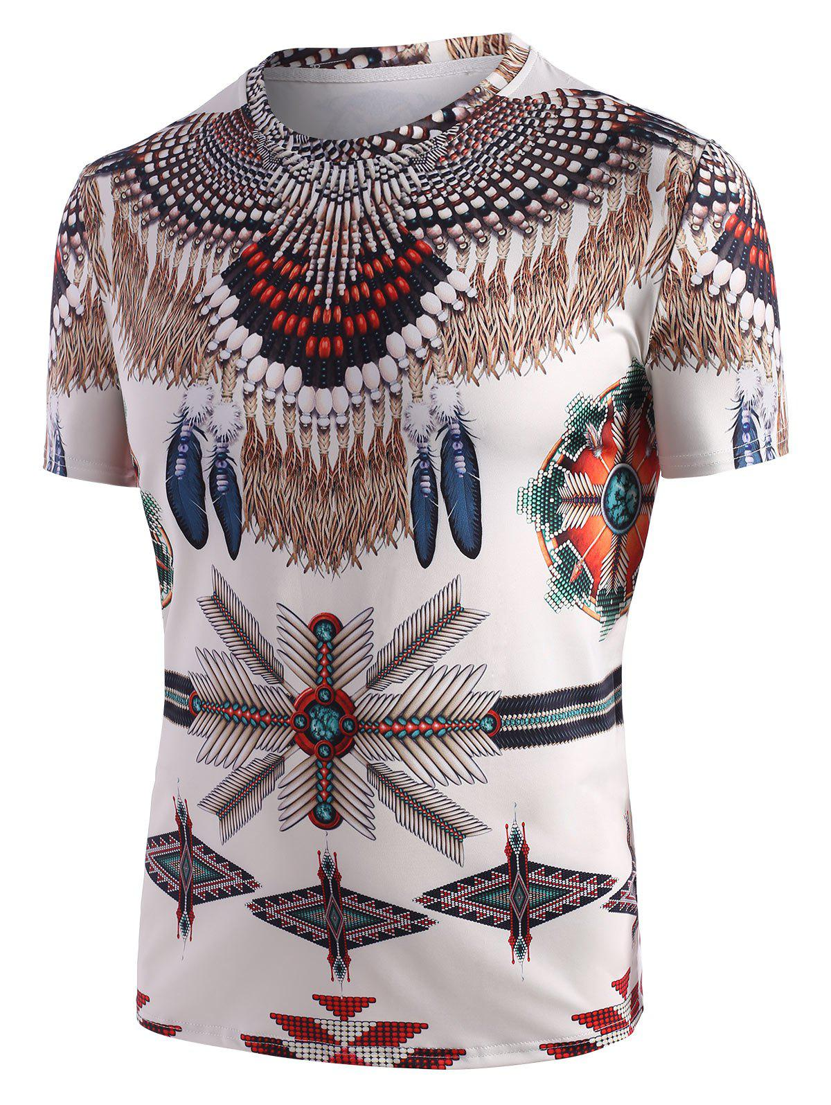 Latest Tribal Indian Print Short Sleeve T-shirt
