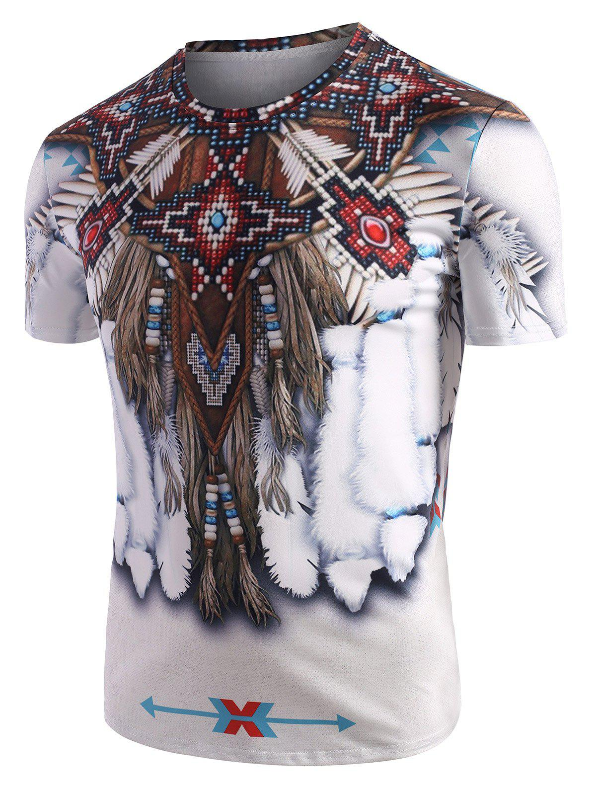 Fancy Tribal Indian Graphic Pattern Short Sleeve T Shirt