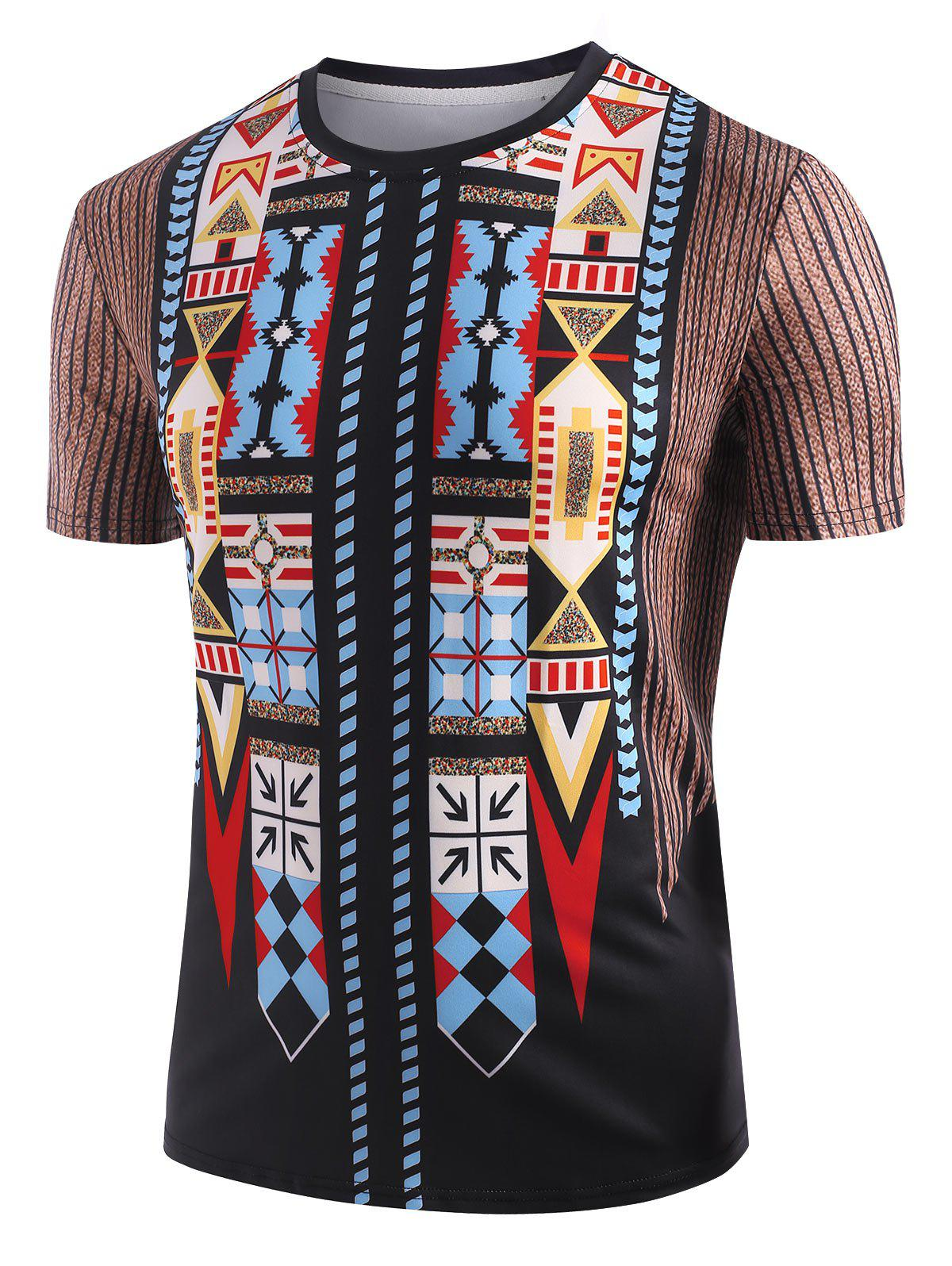 Affordable Aztec Graphic Print Round Neck T-shirt