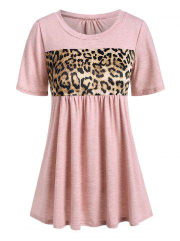 Leopard Panel Short Sleeve Casual T-shirt - DEEP PEACH - S