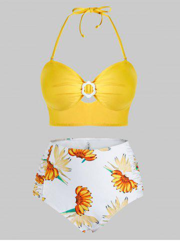 Plus Size Banana Print Halter High Waisted Tankini Swimwear