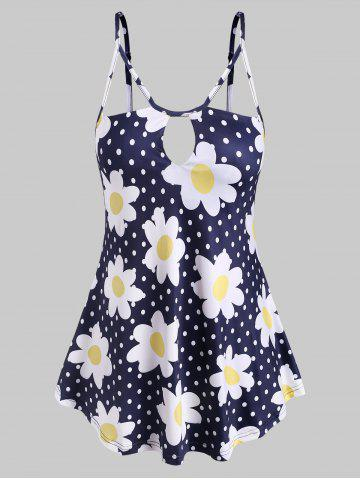 Keyhole Strappy Daisy Dotted Plus Size Cami Top - BLUE - 1X