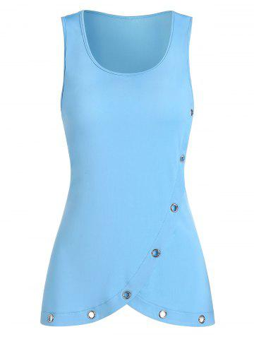 Solid Holes Layers Round Neck Tank Top