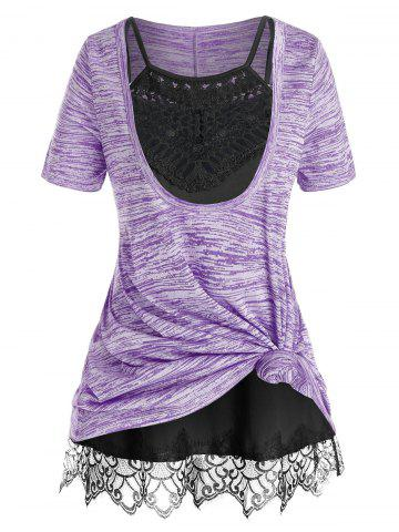 Plus Size Front Knot Marled Tee and Cami Top Set - MEDIUM PURPLE - 3X