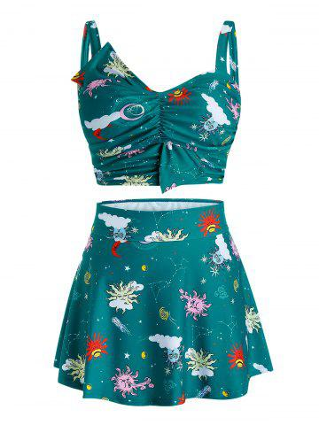 Plus Size Funny Sun Print Skirted Three Pieces Tankini Swimwear