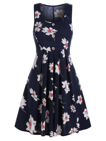 Button Pleated Flower Printed Dress