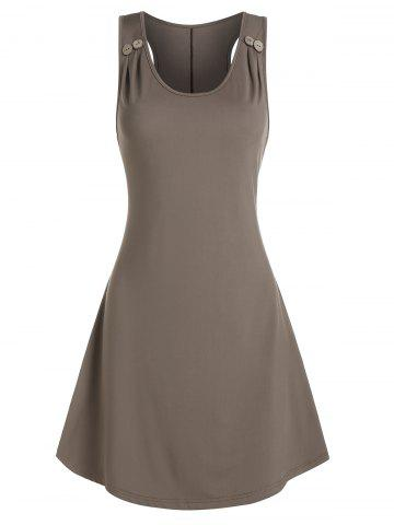Plain Mock Button Sleeveless Mini Dress - DARK KHAKI - 3XL