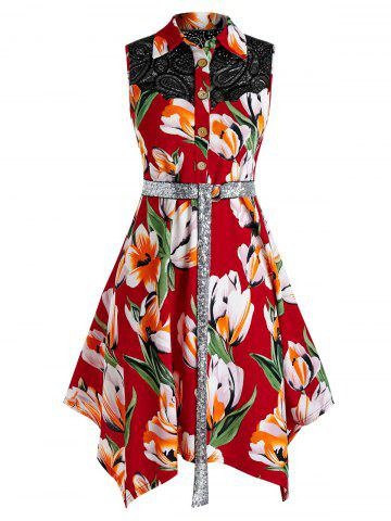 Plus Size Tulip Print Handkerchief Midi Dress - RED WINE - 3X