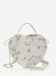 Heart Shape Embroidery Floral Crossbody Bag -