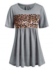 Leopard Panel Short Sleeve Casual T-shirt -