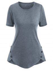 Heather Button Embellished Uneven Hem T-shirt -
