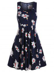 Button Pleated Flower Printed Dress -