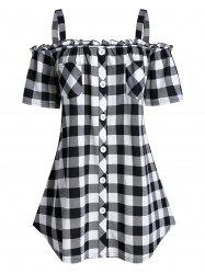 Plus Size Plaid Cold Shoulder Buttoned  Pocket Frilled Tee -