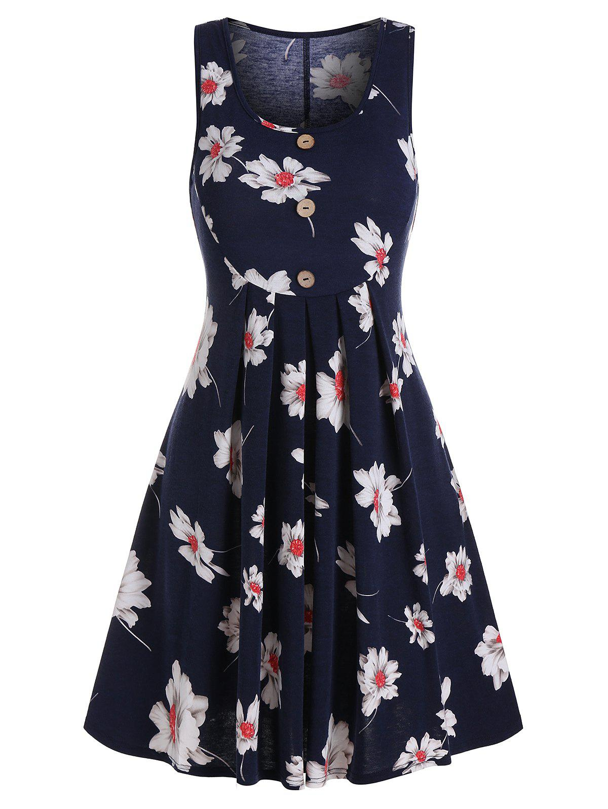 Latest Button Pleated Flower Printed Dress