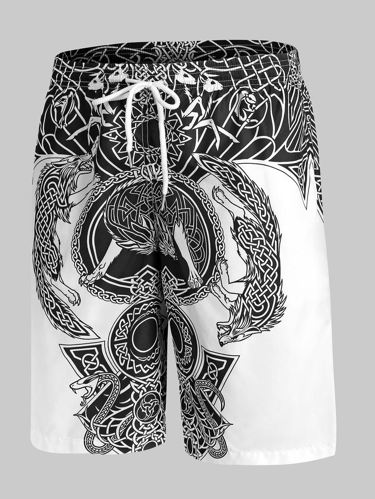 Chic Totem Graphic Print Drawstring Shorts