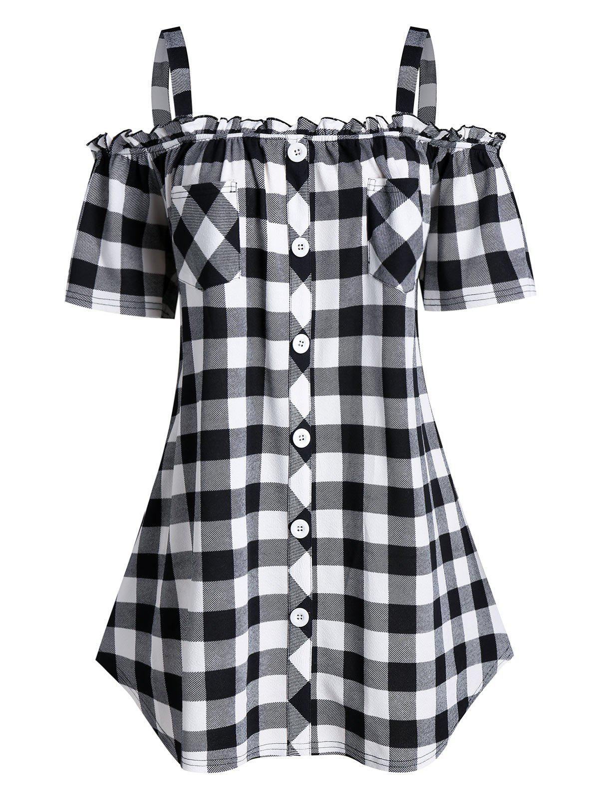 Fancy Plus Size Plaid Cold Shoulder Buttoned  Pocket Frilled Tee