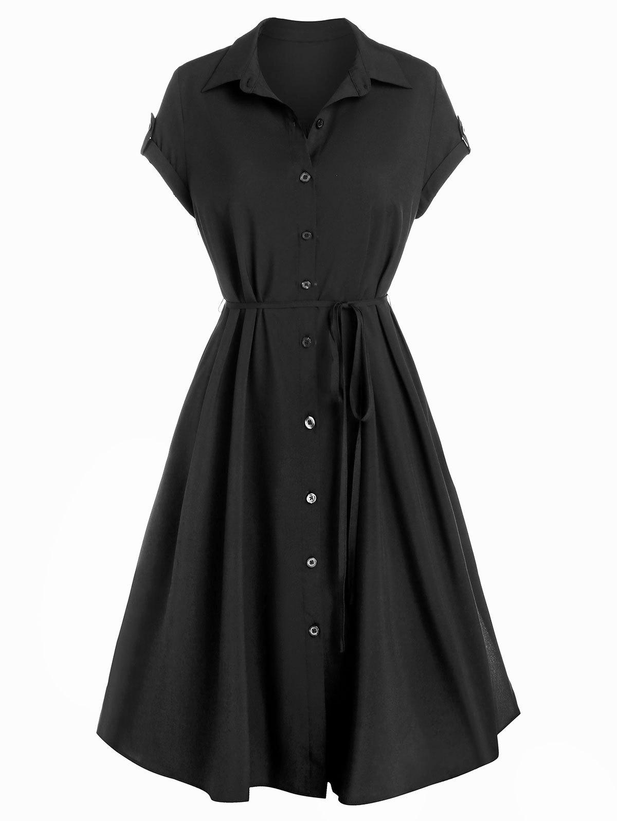 Outfit Buttons Self Tie A Line Shirt Dress