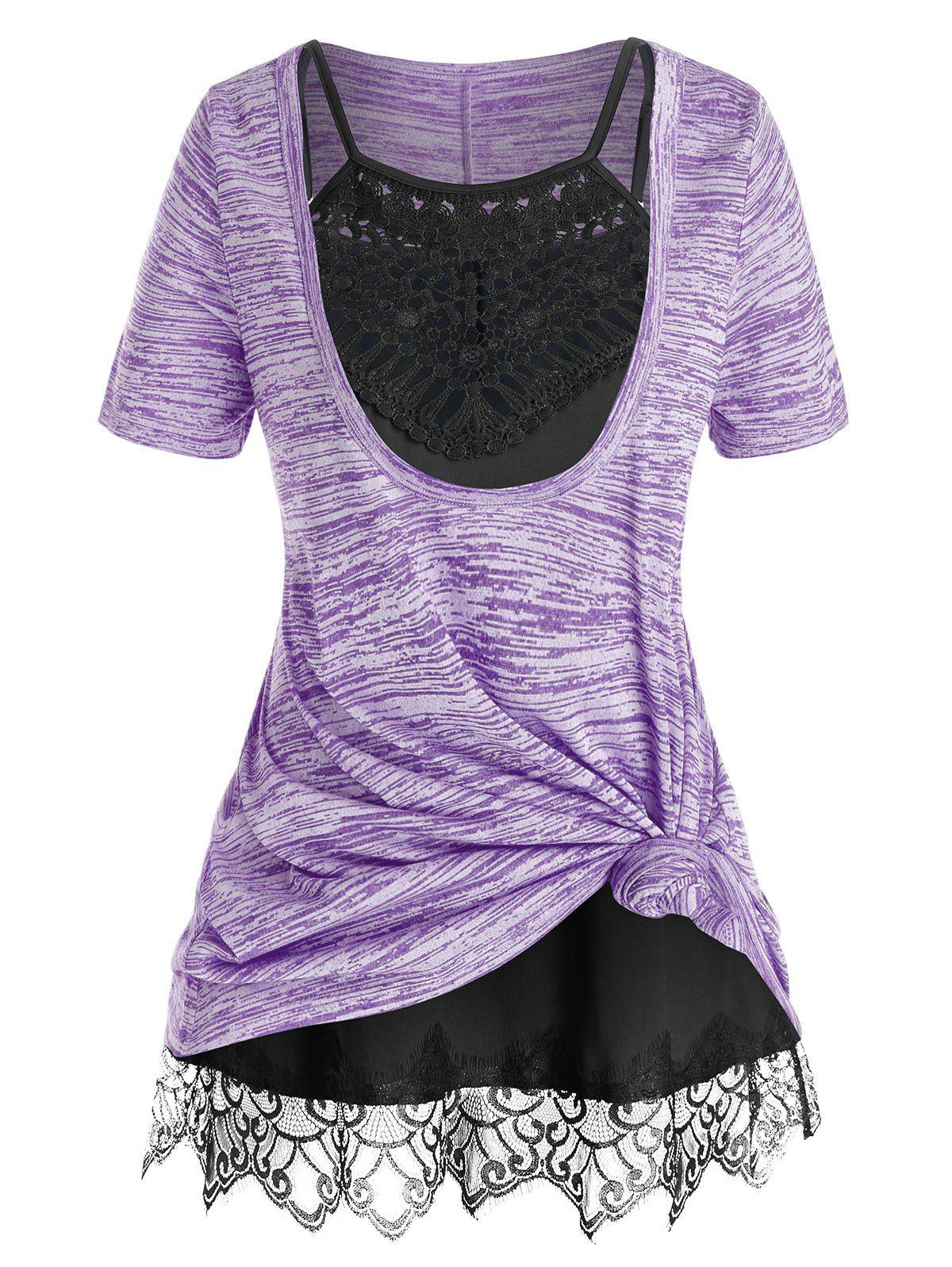 Outfit Plus Size Front Knot Marled Tee and Cami Top Set