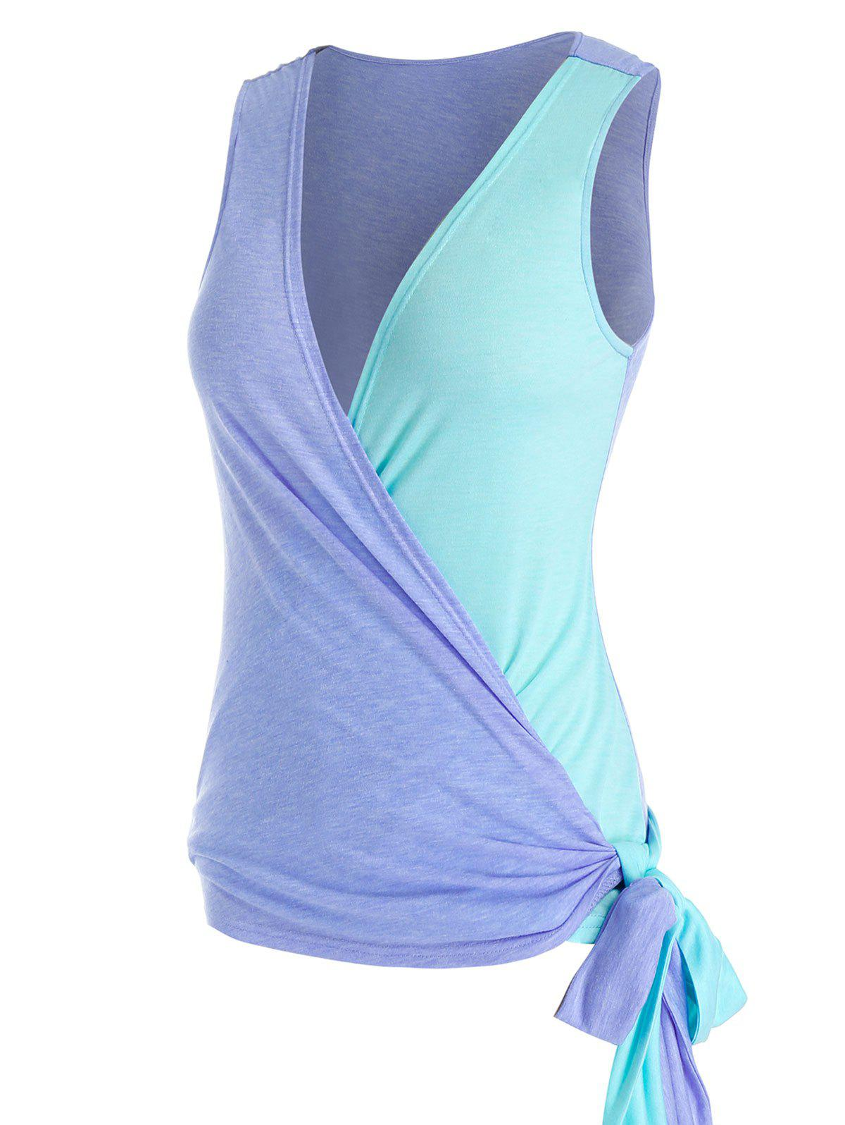 Latest Plus Size Side Tie Colorblock Wrap Tank Top