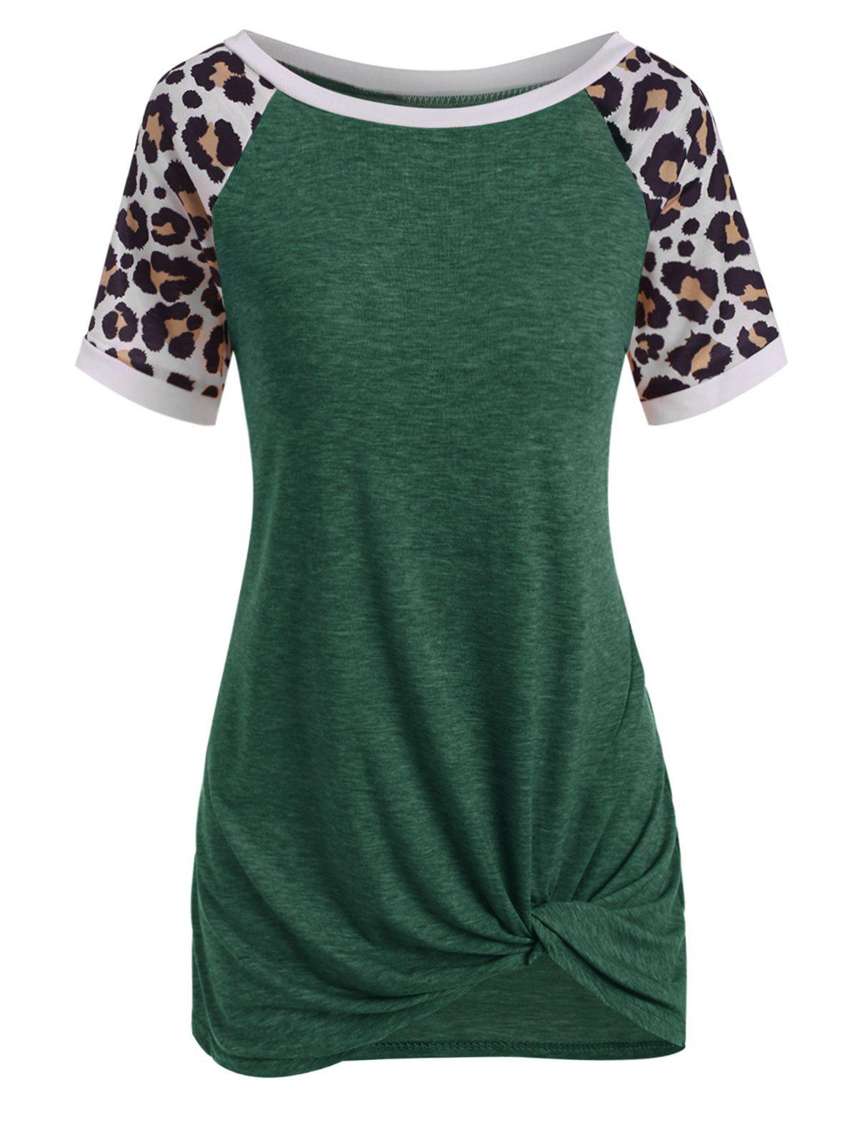 Outfits Raglan Sleeve Leopard Print Twisted T-shirt