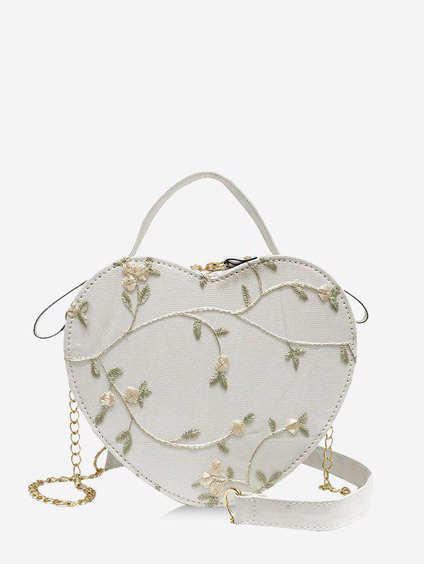 Chic Heart Shape Embroidery Floral Crossbody Bag