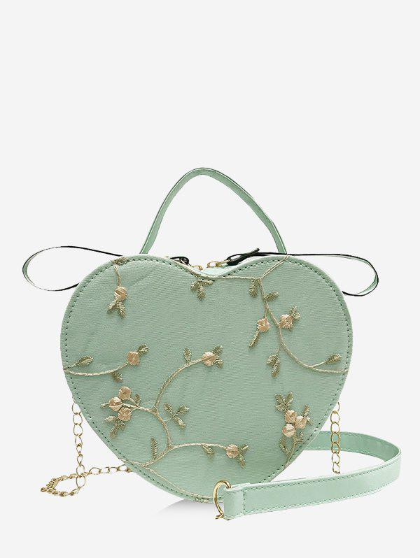 Affordable Heart Shape Embroidery Floral Crossbody Bag