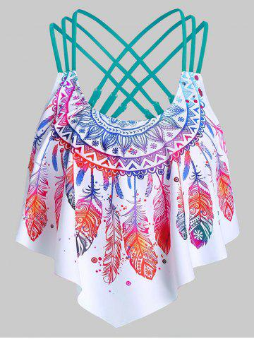 Strappy Feather Print Pointed Hem Swim Top