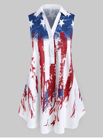 Plus Size American Flag Print Patriotic Sleeveless Blouse
